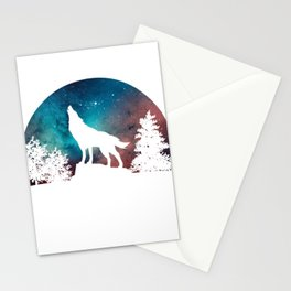 Wolf Howling Moon Love Wolves Cosmic Space Galaxy Women Men T-Shirt Stationery Cards