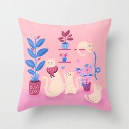 Grumpy mom and mischievous kittens Throw Pillow