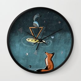 A Fox, a bird and a space day Wall Clock