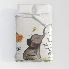 Friends are Loved by All - Baby Elephant Sunflower Butterflies Art by Annette Bailey Comforters