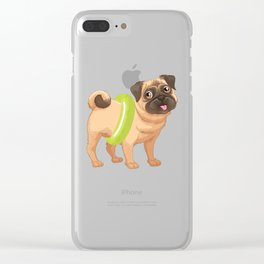 Cute Dog Wearing A Pool Float Funny Dog Rescuer Clear iPhone Case