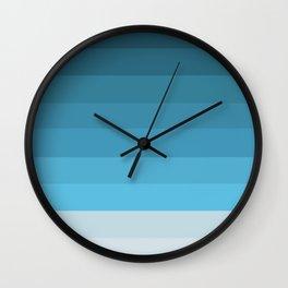 Blue Lagoon stripes pattern Wall Clock
