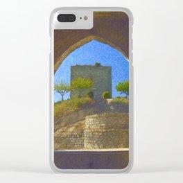 Portuguese castle window Clear iPhone Case