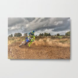 Blue and green Motocross action biker Metal Print