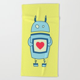 Cute Clumsy Robot With Heart Beach Towel