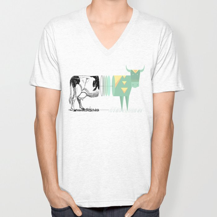 the black and white cow who wanted to be colorfully geometric  Unisex V-Neck