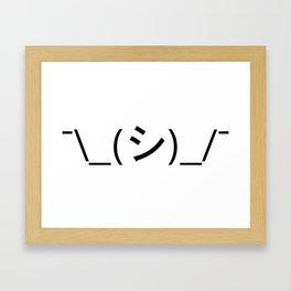 Oops Shrug Emoticon ¯\_(シ)_/¯ Japanese Kaomoji Framed Art Print