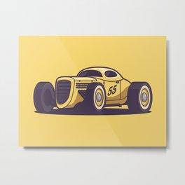 GAZ GL1 Custom Vintage Hot Rod Classic Street Racer Car - Yellow Metal Print