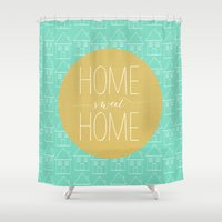 home sweet home Shower Curtains featuring Home sweet home 2 by Allyson Johnson