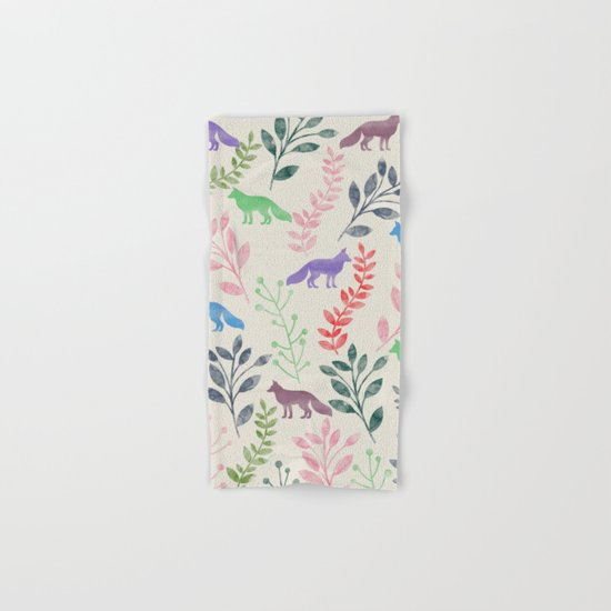 Watercolor Floral & Fox III Hand & Bath Towel