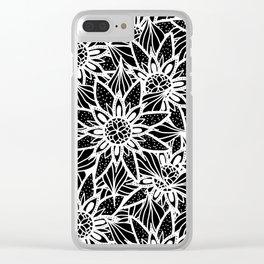 Modern Elegant Black White Tangle Flower Drawing Clear iPhone Case
