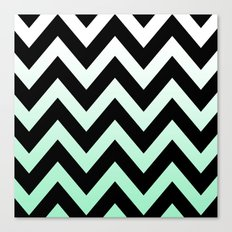 BLACK CHEVRON MINT FADE Canvas Print