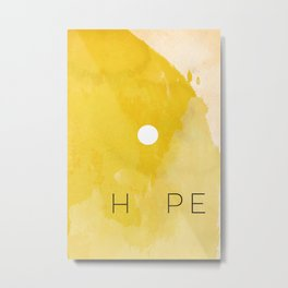Sun Yellow Watercolor Minimalist Sunset Abstract Hope Positive Inspirational Quote Metal Print