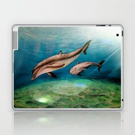 Dolphins, watercolor Laptop & iPad Skin