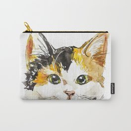 Watercolor Calico Cat Carry-All Pouch