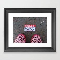 Hello, My Name Is Happy Framed Art Print