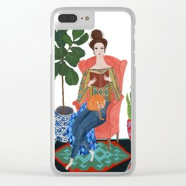 Cat lady reading Clear iPhone Case