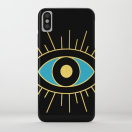 Black and Teal Evil Eye iPhone Case