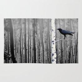Black Bird Crow Tree Birch Forrest Black White Country Art A135 Rug