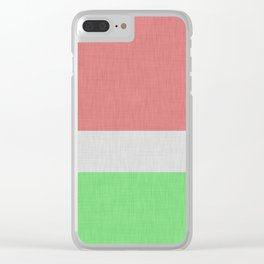 Linen texture orange and green color block Clear iPhone Case