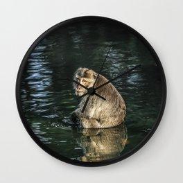 Monkey in the water Wall Clock