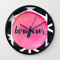 bonjour Wall Clocks featuring Bonjour by Hello Sayang Design