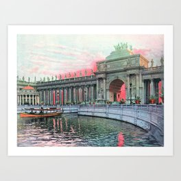 Peristyle at Sunrise in Color, Chicago World's Fair 1893 Art Print