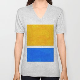 Primary Yellow Cerulean Blue Mid Century Modern Abstract Minimalist Rothko Color Field Squares Unisex V-Neck