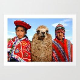 Kids and their lama, Peru Art Print