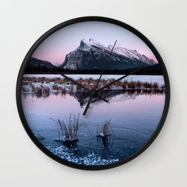Silent Sunset over Mt. Rundle Wall Clock