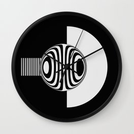 Experimentation with vector design on sphere glass reflection, 3D ambient. Version A. WB. Wall Clock