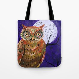 Owl, Owl Painting, Moon, Night Sky, Purple, by Faye Tote Bag