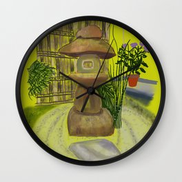 Japanese Tea House Garden Ceremony Golden Background Wall Clock