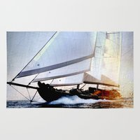 sailboat Area & Throw Rugs featuring sailboat by laika in cosmos