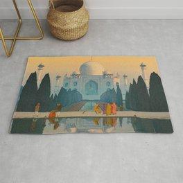 Morning Mist in Taj Mahal Vintage Beautiful Japanese Woodblock Print Hiroshi Yoshida Rug