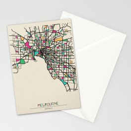 Colorful City Maps: Melbourne, Australia Stationery Cards