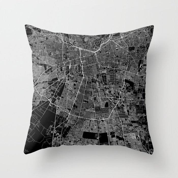 Santiago Black Map Throw Pillow