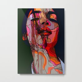 Face of a woman in a grunge style with linedrawing Metal Print
