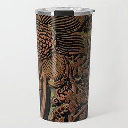 Antique Arts & Crafts era Wood Carving, wood block  Travel Mug