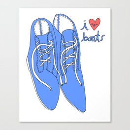 BLUE BOOTS I HEART Canvas Print