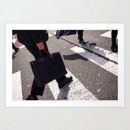 Group of businessmen and women walk along crosswalk in Shinjuku, Tokyo, Japan Art Print