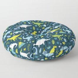Kawaii Dinosaurs in Blue + Green Floor Pillow