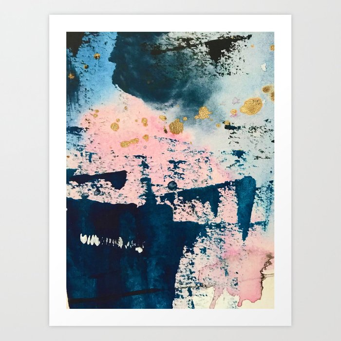 Candyland: a vibrant, colorful abstract piece in blue teal pink and gold by Alyssa Hamilton Art Kunstdrucke