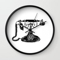 telephone Wall Clocks featuring Telephone by Rachel Walsh