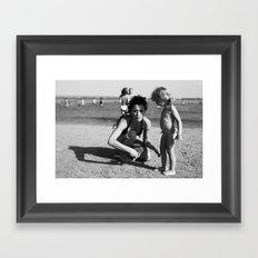 girls on the beach Framed Art Print