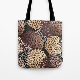 Copper Dahlia Floral Pattern Tote Bag