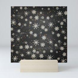 Boho Black Snowflakes Mini Art Print