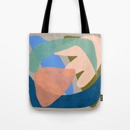Shapes and Layers no.30 - Large Organic Shapes Blue Pink Green Gray Tote Bag