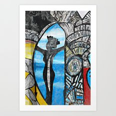 Seaside Beauty Queen Art Print