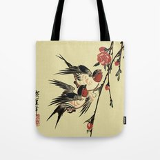 Moon Swallows and Peach Blossoms Tote Bag